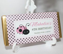Personalised Chocolate Bar Favours - Pink Lady Bug Design