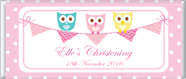 Personalised Chocolates - Owl and Bunting Design