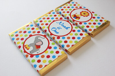 Personalised Chocolate Bar Favours - Circus Fun (Alternating Design)