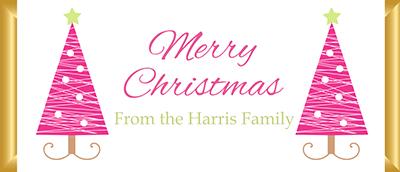 Personalised Christmas Chocolate Bars - Pink Tree Design