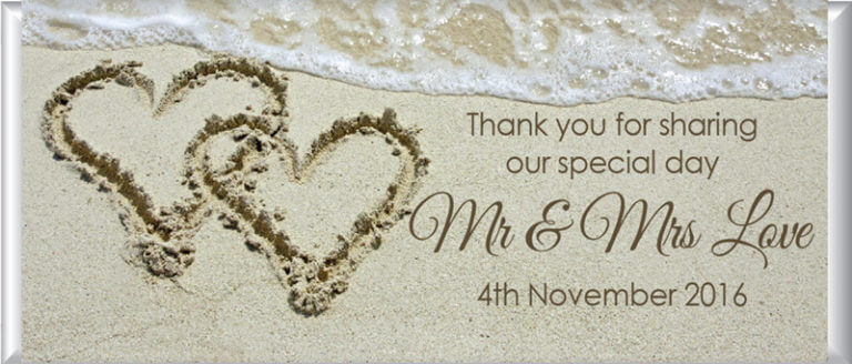 Personalised Chocolate Favors - Hearts In Sand