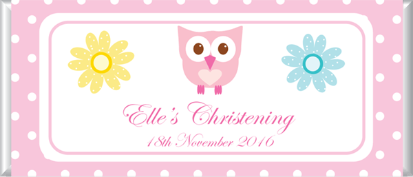 Personalised Chocolate Bar Favours - Sweet Owl Design