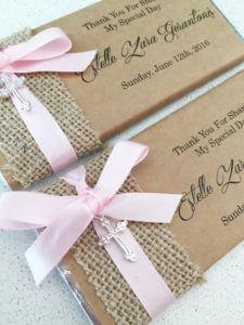 cross charm ribbon personalised chocolates