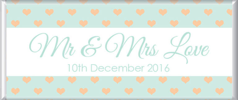Personalised Chocolate - Peach & Mint Hearts