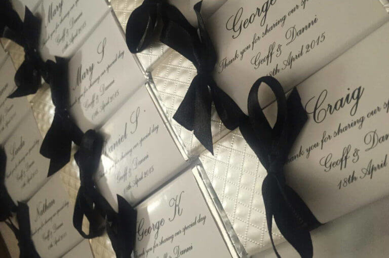 Personalised Chocolates Diamond Embossed Paper With Bow Favours