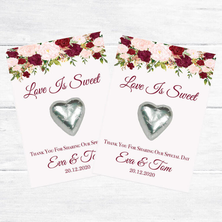 Personalised Chocolate Heart Favours - Floral Waterfall