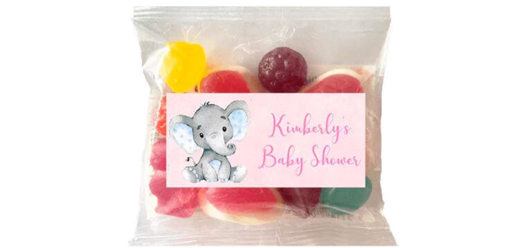 Personalised Lolly Bags - Pink Baby Elephant