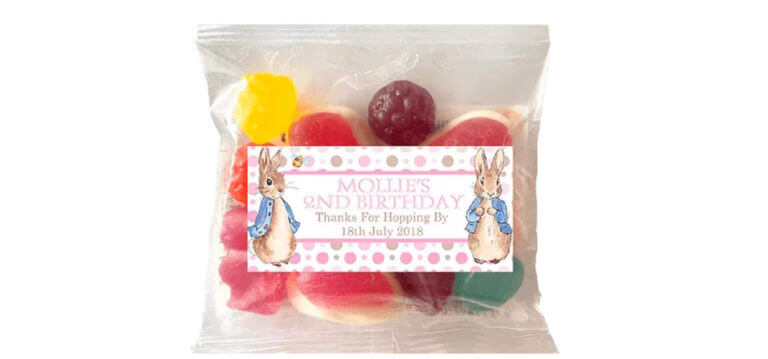 Personalised Lolly Bags - Pink Peter Rabbit