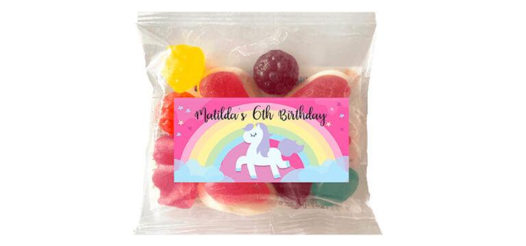 Personalised Lolly Bags - Rainbow Unicorn