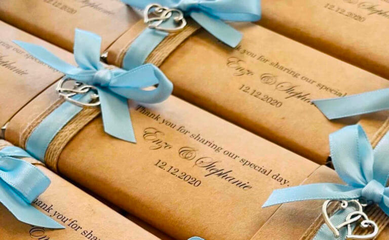Rustic Paper, Ribbon & Heart Charm Personalised Chocolates
