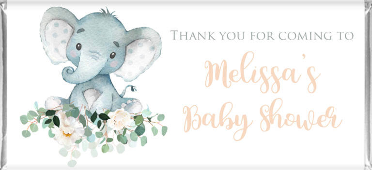 Baby Shower Chocolates - Baby Elephant Florals