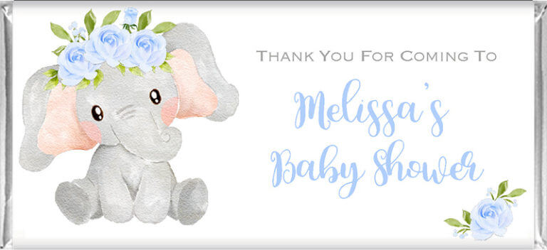 Personalised Baby Shower Chocolates - Blue Floral Elephant