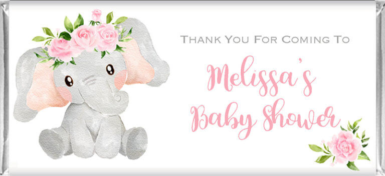 Personalised Baby Shower Chocolates - Pink Floral Elephant