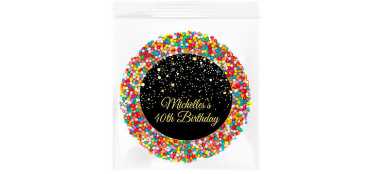 Black & Gold Confetti Personalised Giant Freckle