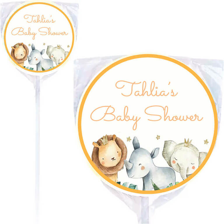 Watercolour Baby Animals Personalised Lollipops