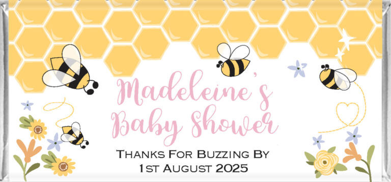 Personalised Baby Shower Chocolates - Bumble Bee